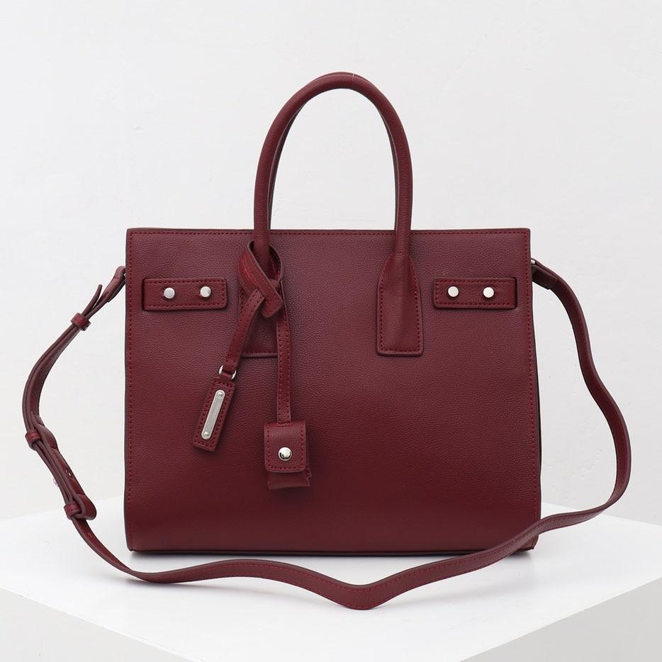 Genuine Leather Brand Bag Large Sac De Jour Souple Bag Black Red  Messenger  Designer Luxury Large Capacity Women Bolsa Feminina