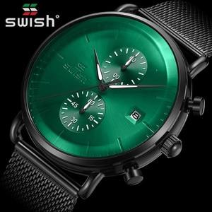 SWISH Ghost Green Watches Men Top Brand Luxury Waterproof Chronograph Quartz Watch Stainless Steel Sport Clock Relogio Masculino