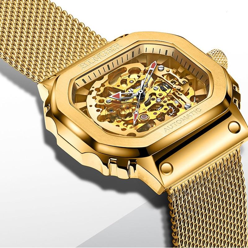 BINGER ميوتا 8N24 حركة ساعة أوتوماتيكية الرجال الذهب الهيكل العظمي ساعات آلية المعصم العلامة التجارية الفاخرة مقاوم للماء Reloj Hombre