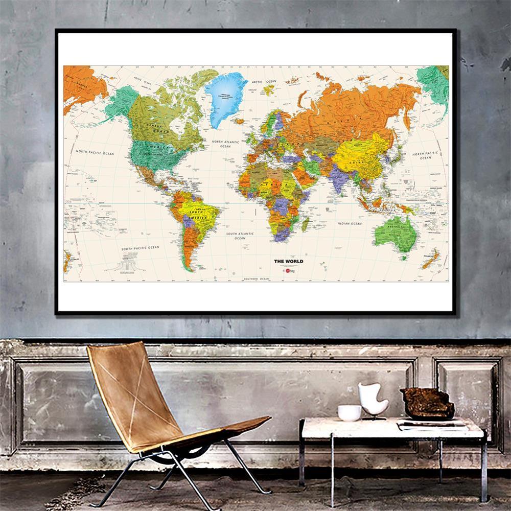 150x100cm mapa del mundo mapa físico impermeable plegable mapa sin bandera nacional para viajes y viajes