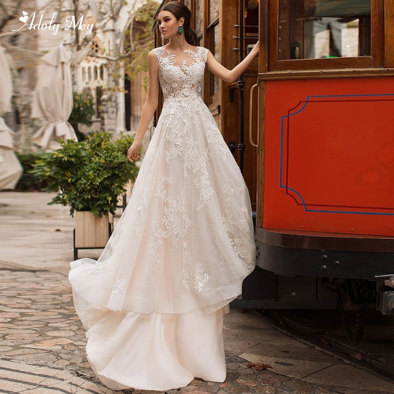 Adoly Mey elegante cuello redondo botón A-Line vestidos de novia 2020 corte tren Applques Cap manga princesa vestido de novia de talla grande