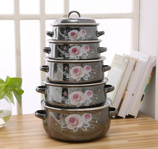 Суповая кастрюля, эмалированная кастрюля, кастрюля для приготовления пищи, кухонная керамическая кастрюля для тушения, кухонная посуда, керамическая посуда
