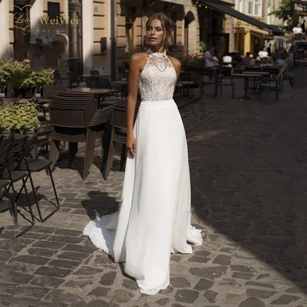 Get Simple A-Line Wedding Dress Halter Neck Sleeveless Floor Length Backless Lace Applique Bridal Gowns Vestidos De Novia 2021