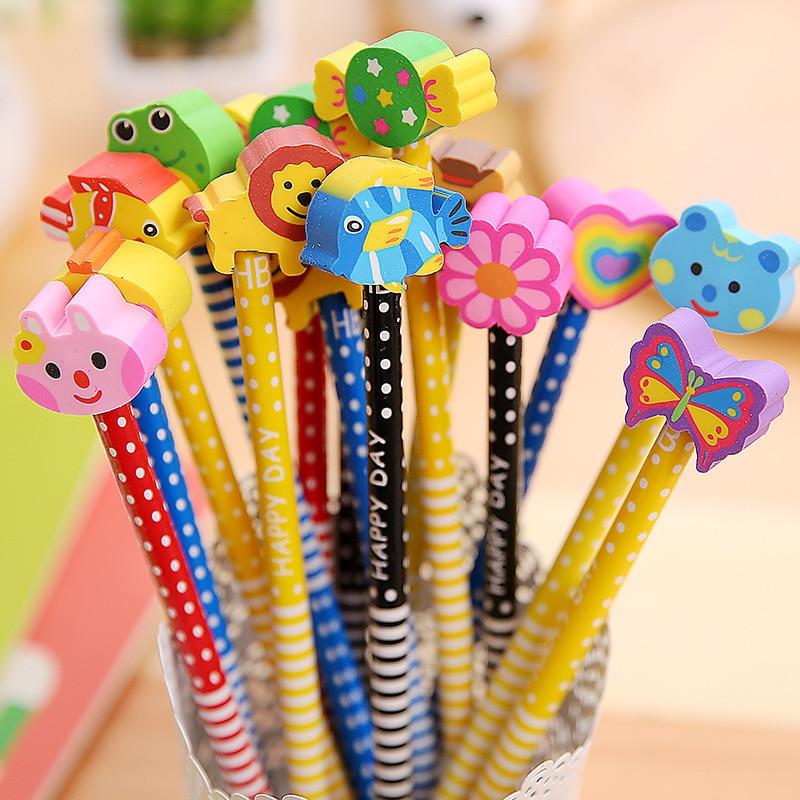 AliExpress - Creative children cartoon stationery gift kindergarten school supplies HB pencil with eraser prize T