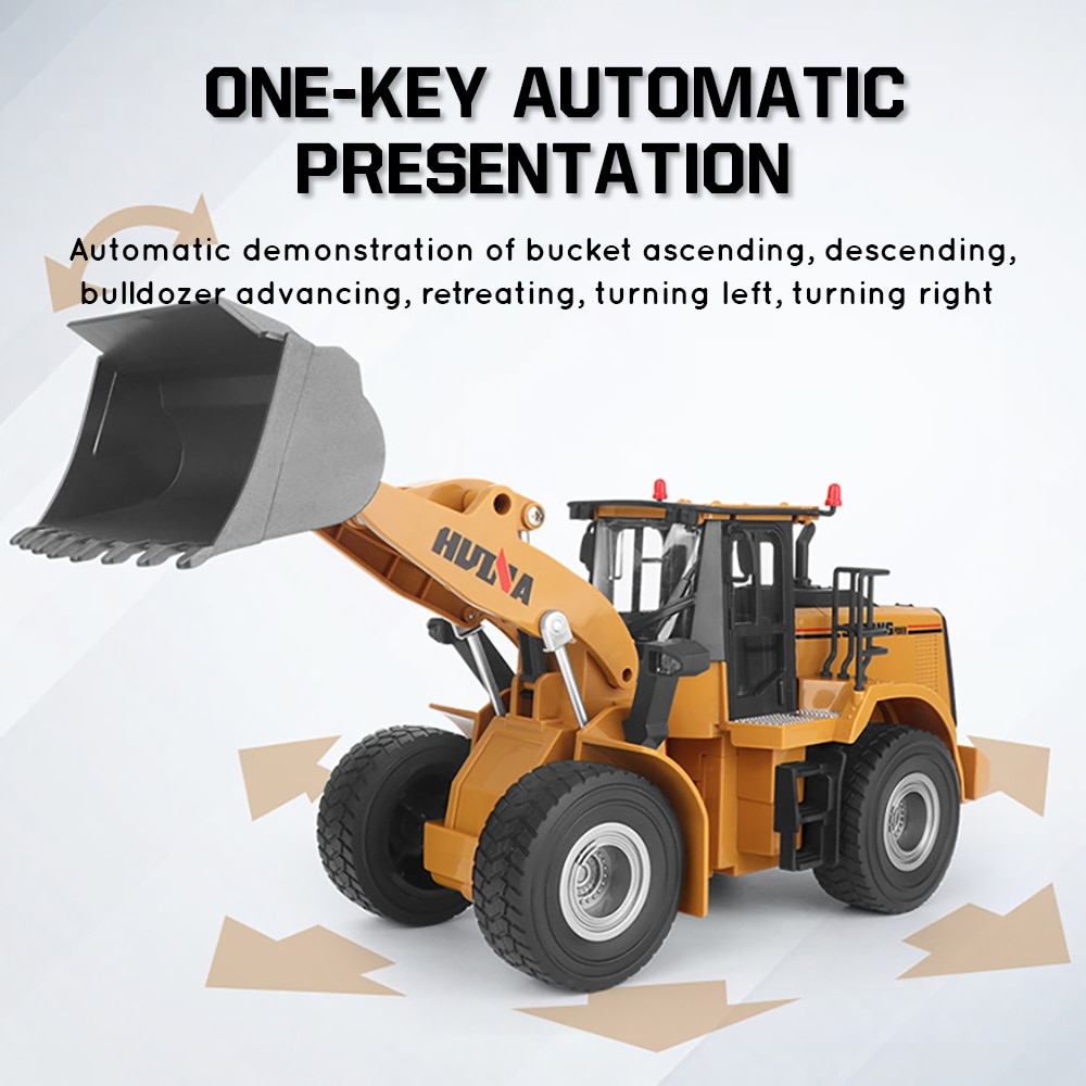 Huina 1:16 Rc Truck Loader Tractor Model Caterpillar 2.4G Radio Control Bulldozer Engineering Car Excavator Vehicle Toys for Boy