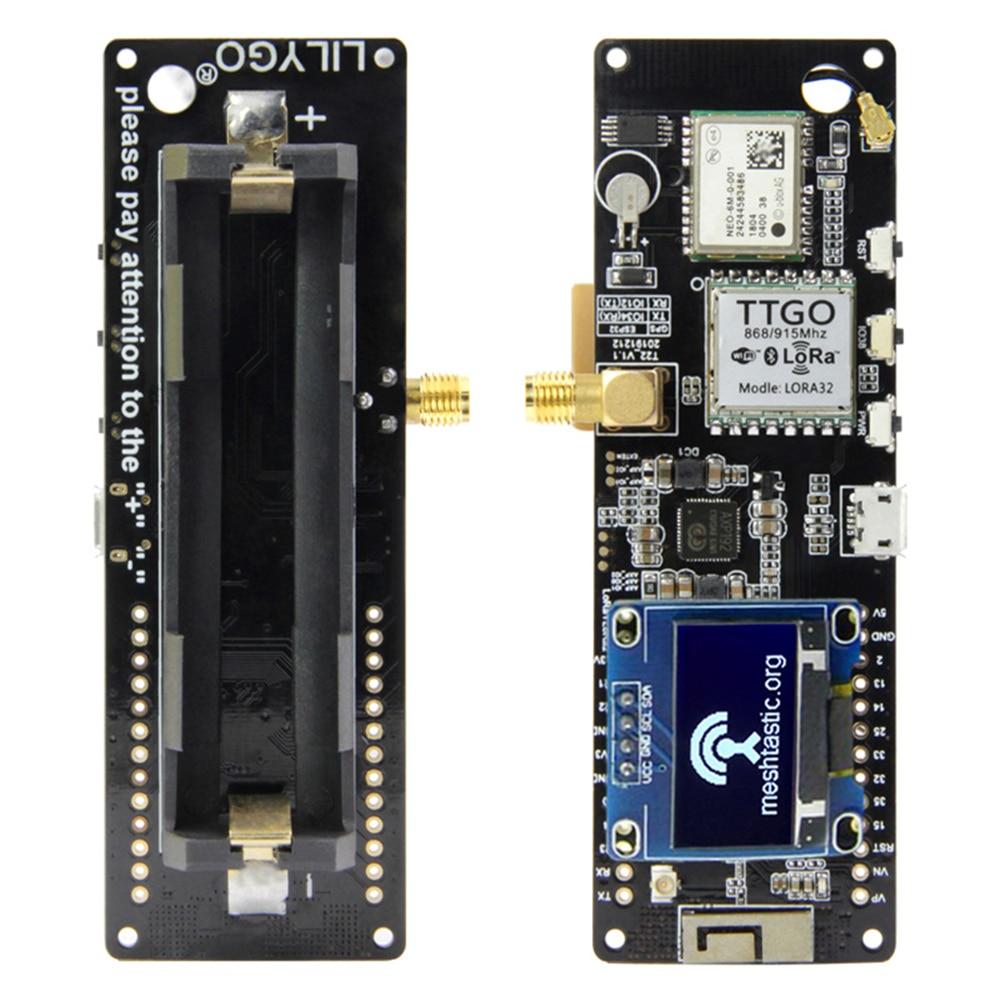 LILYGO®TTGO Meshtastic T-Beam V1.1 ESP32 433/868/915/923Mhz WiFi BLE Lora ESP32 GPS NEO-6M SMA 18650 حامل بطارية مع OLED