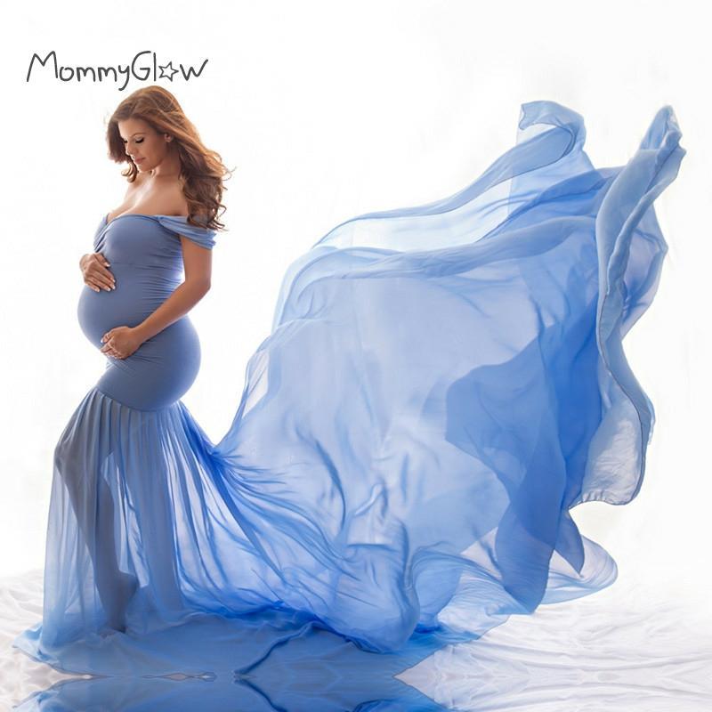 فستان حوامل من الشيفون والقطن ، إكسسوارات تصوير الأمومة ، ملابس الحمل ، أكتاف عارية ، نصف دائرة ، مجموعة جديدة