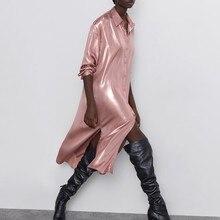 Rosa camiseta Vestido satén Vintage Za recta manga larga Ropa Vestido Longo robe mujer Sexy Maxi chaqueta Runway vestidos