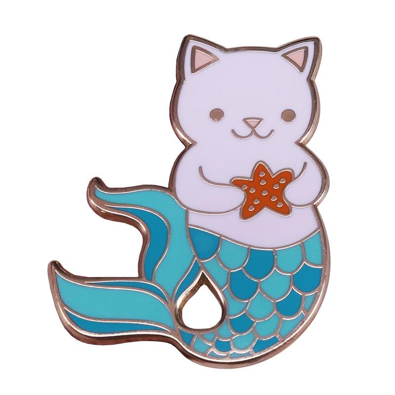 Moda lindo gato pescado cola de pez Collar Pins sirena estrella de mar insignia mujeres niñas niños regalo