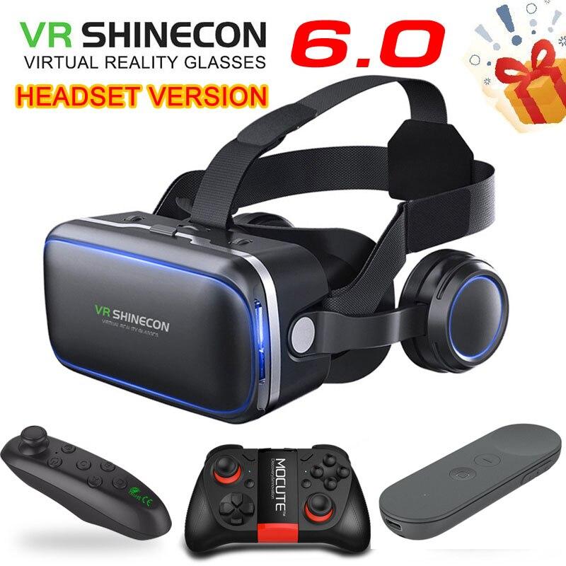 Shinecon-نظارات الواقع الافتراضي ثلاثية الأبعاد ، الإصدار القياسي الأصلي 6.0 ، سماعة رأس ، وحدة تحكم اختيارية