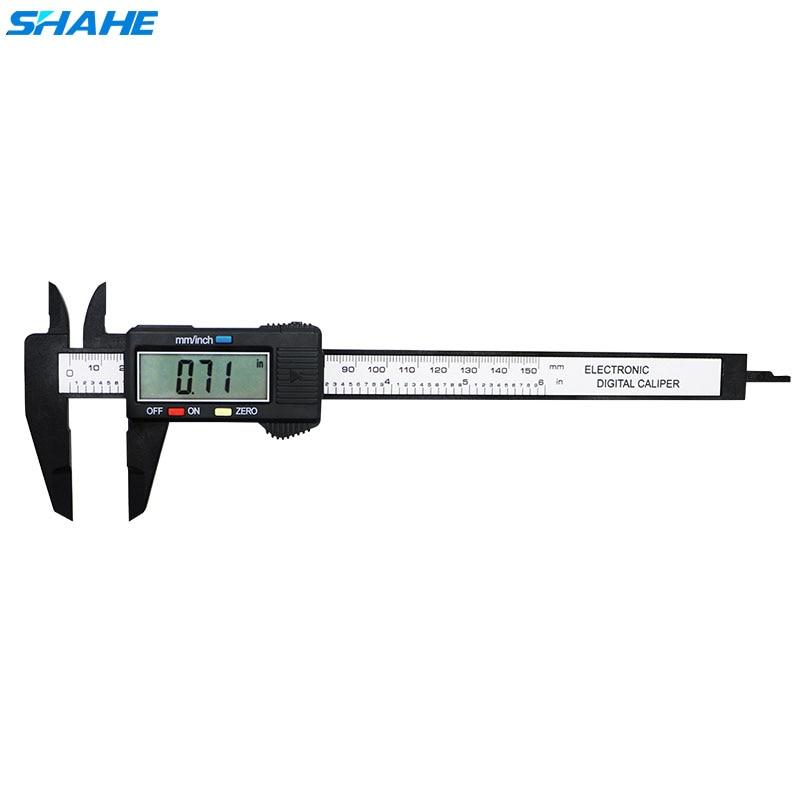 shahe 0-150 mm Plastic LCD Digital Electronic Vernier Caliper Carbon Fiber Vernier Caliper  Measurement Tools