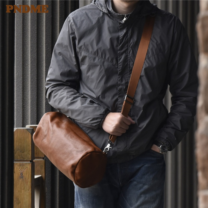 PNDME fashion simple men's genuine leather messenger bags outdoor casual waterproof daily soft cowhide cross body shoulder bag
