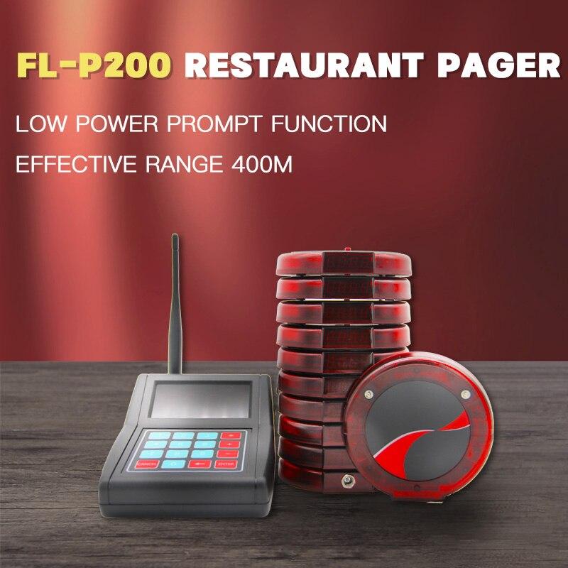FL-P200 مطعم كوستر نظام الترحيل اللاسلكي مع 1 لوحة المفاتيح 10 بيجر ل مقهى النادل عيادة الكنيسة الحضانة الجدول