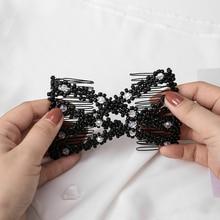 M MISM Fashion Beads Elastic Hair Combs Double Slide Crystal Magic Bun DIY Hairstyle Making Tool Metal Barrette Hair Accessories