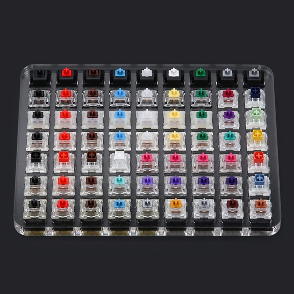 Placa Base de comprobador, transparente, para interruptor Cherry Mx, color rojo, negro, marrón, plateado y rosa