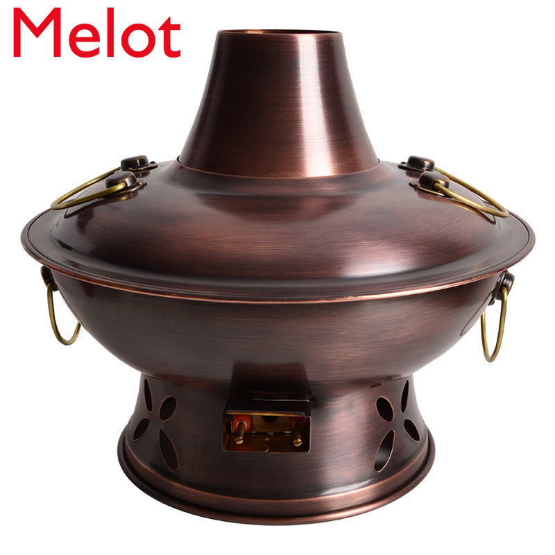 Retro Hot Pot Pure Red Copper Thickened Electric Charcoal Dual-Use Old Stove Copper Pot Thickened Electric Pot Charcoal Hot Pot