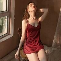 women sexy lingerie lace sleepwear nightdress silk pink nightgown straps deep v neck satin nightie night dress ladies night wear