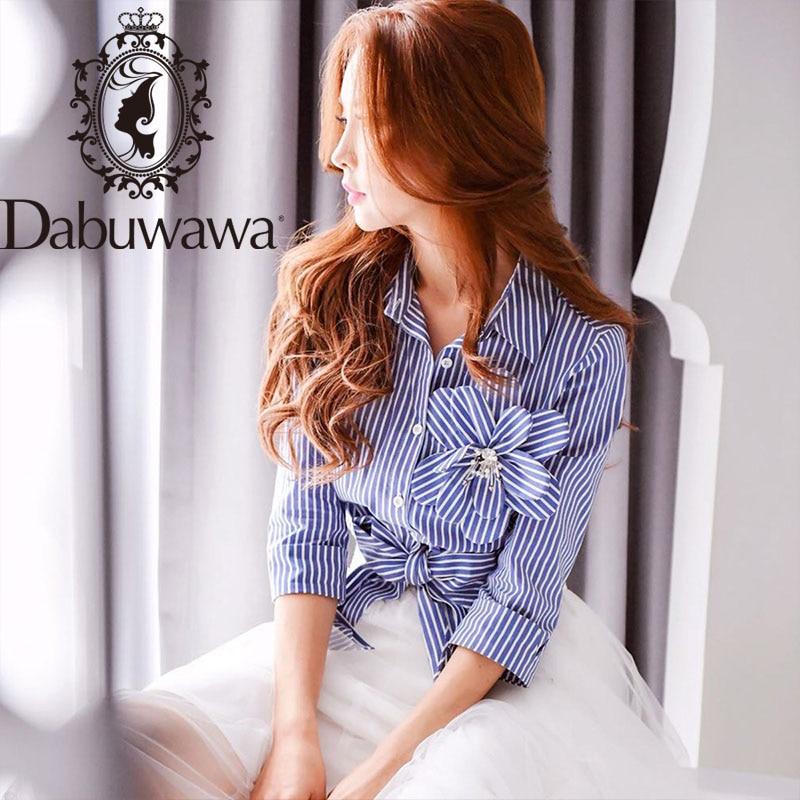 Dabuwawa, camisas a rayas para mujer, apliques, dobladillo, Diseño de nudo, camisa elegante para mujer, blusa, Tops, cuello doblado D16CST099
