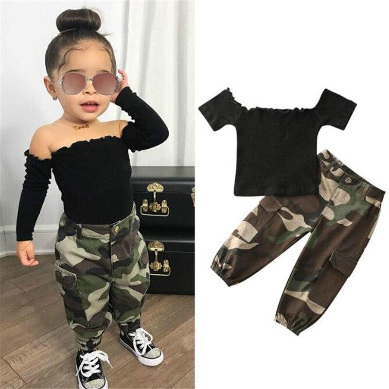 2021. Оптовая продажа, Новое поступление, детский летний модный черный топ с открытыми плечами, камуфляжные брюки, комплект одежды для девочек