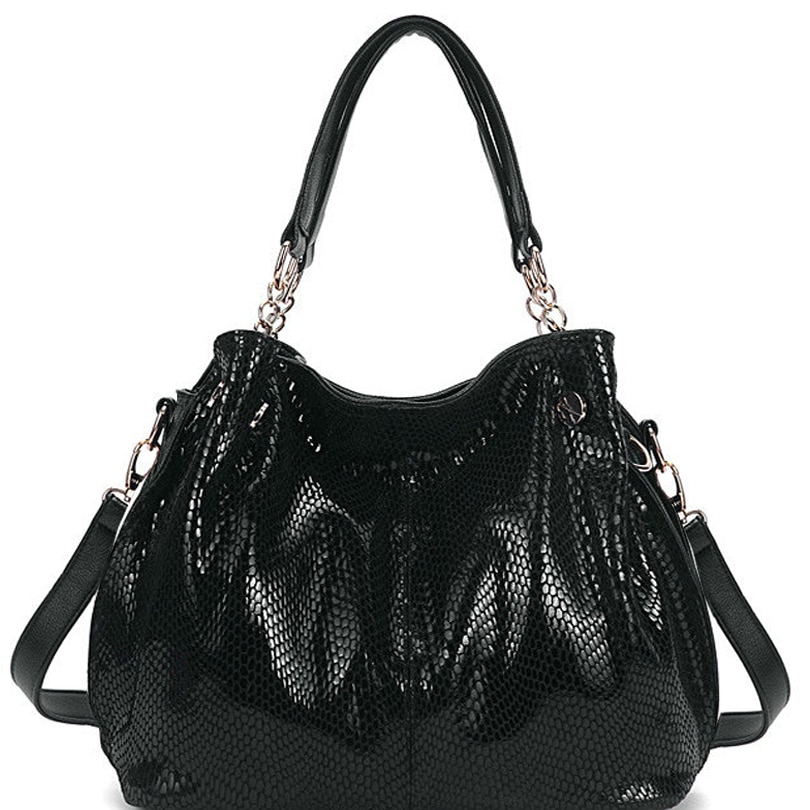 handbag women large black snake bag high quality big tote bag luxury brand shoulder crossbody bags for women 2019