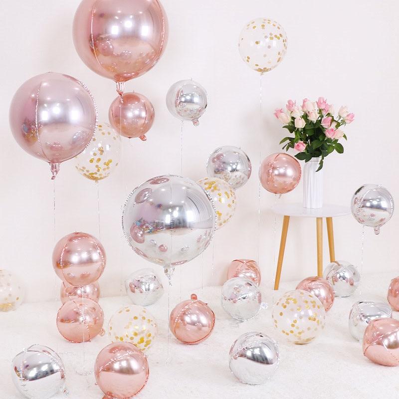 Globo grande/redondo con forma de esfera, 6 uds., dorado/Rosa 4D, globos de aluminio, decoración para fiestas de cumpleaños, bodas, Baby Shower