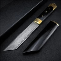vg10 damascus steel full tang enboy handle tactical fixed blade knife outdoor hunting survival tool knives with gift box
