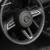 lapetus center steering wheel frame cover trim fit for mazda 3 2019 2020 2021 abs carbon fiber look accessories interior