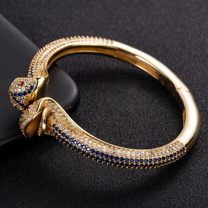 Joyería Zlxgirl azul de alta calidad con zirconia cúbica Dubai brazalete de moda serpiente animal pulsera y brazalete para niña