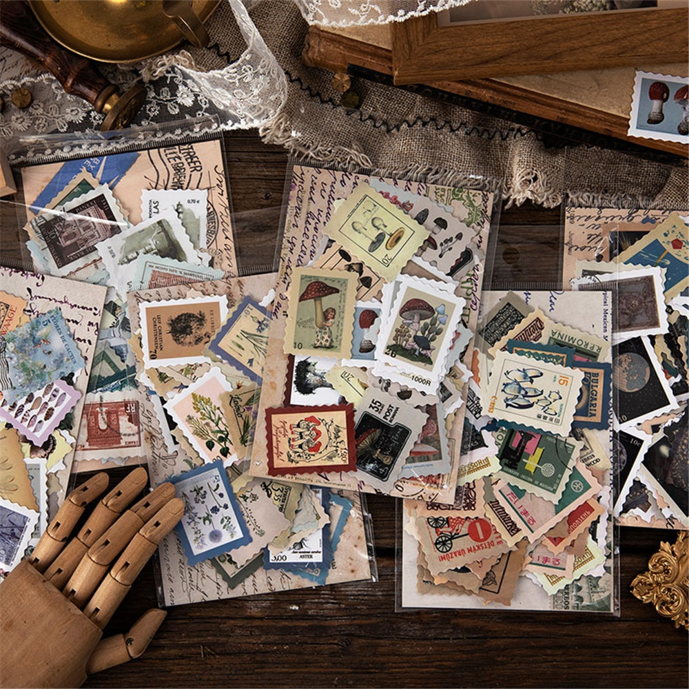 46pcs Vintage Museum Series Stickers Self Adhesive Retro Stamp Plants DIY Scrapbooking Decor Mini Sealing Labels Index Paperr