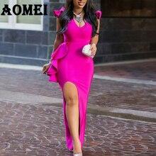 สุภาพสตรีชุดราตรียาวเซ็กซี่ Ruffle สูงแน่นชุดแอฟริกันสำหรับผู้หญิง Dinner Evening Maxi Slim Bodycon Tunic Femme robe