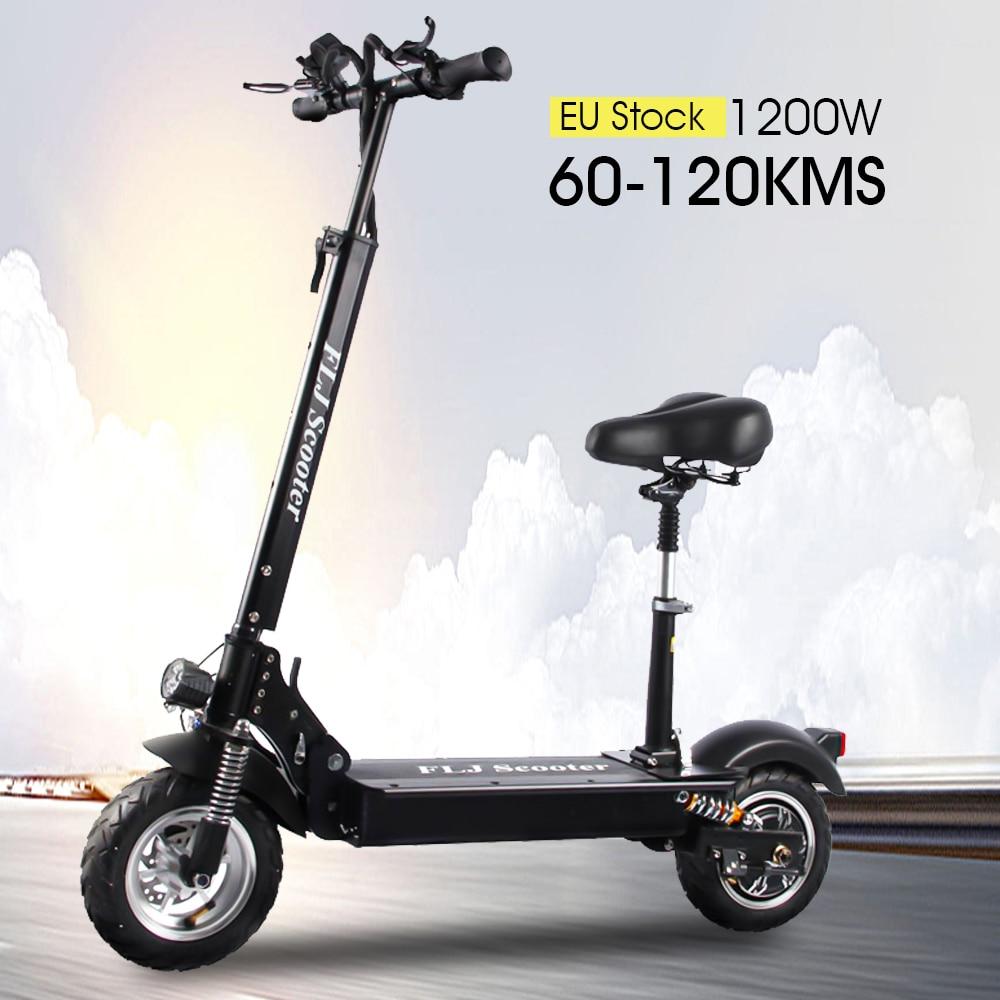 FLJ-patinete eléctrico C11 para adulto, 48V, 1200W, con asiento, plegable, 10 pulgadas