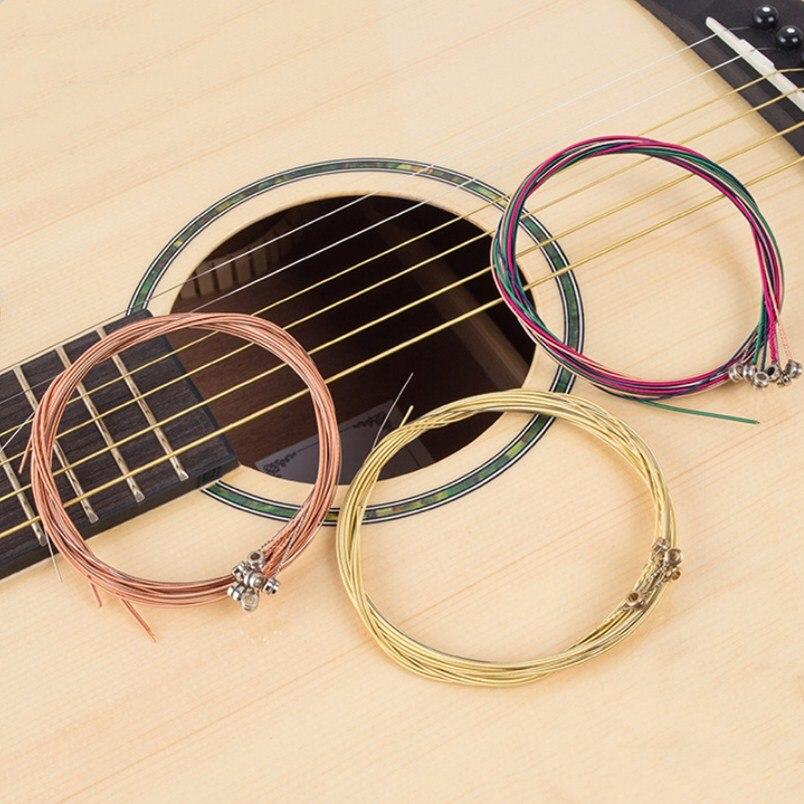6 unids/set Guitarra acústica de acero juego de cuerdas de Guitarra E-A de latón rojo Arco Iris Color de alta calidad
