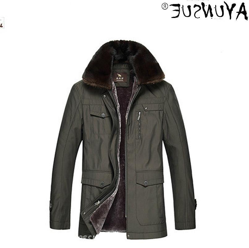 Jacket Men Winter 2021 Men's Jackets Real Wool 100% Mink Fur Fox Fur Collar Coat Male Thick Parkas E