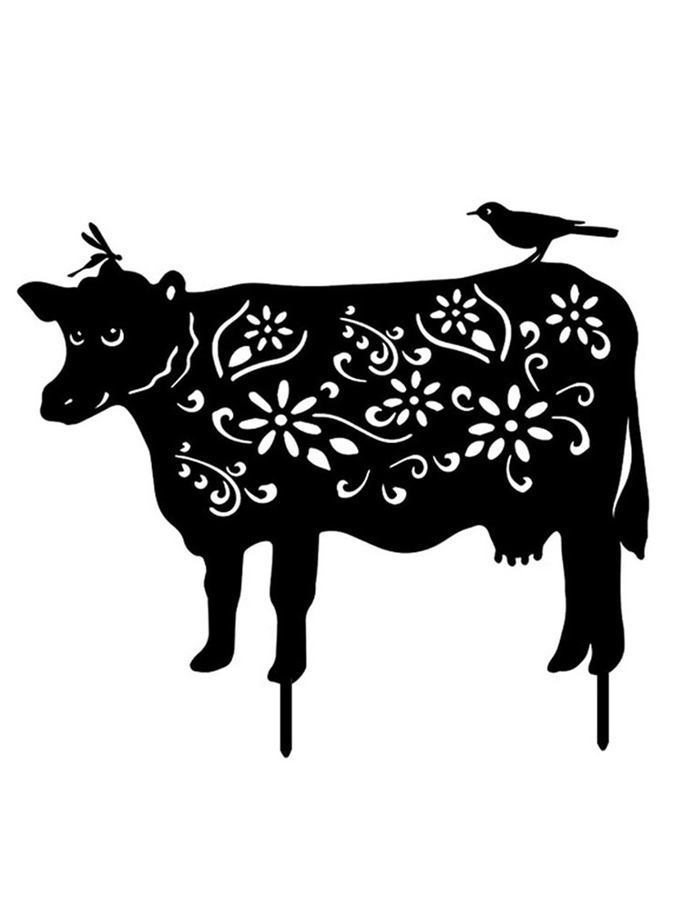Creative Acrylic Pastoral Black Cow Lawn Decoration Simulation Grassland Forest Black Cow Plug-in Pe