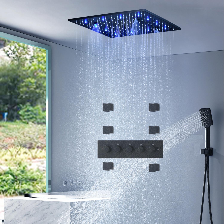 لوحة دش LED مع وظيفة التدليك ، مجموعة صنبور دش المطر ، حوض الاستحمام