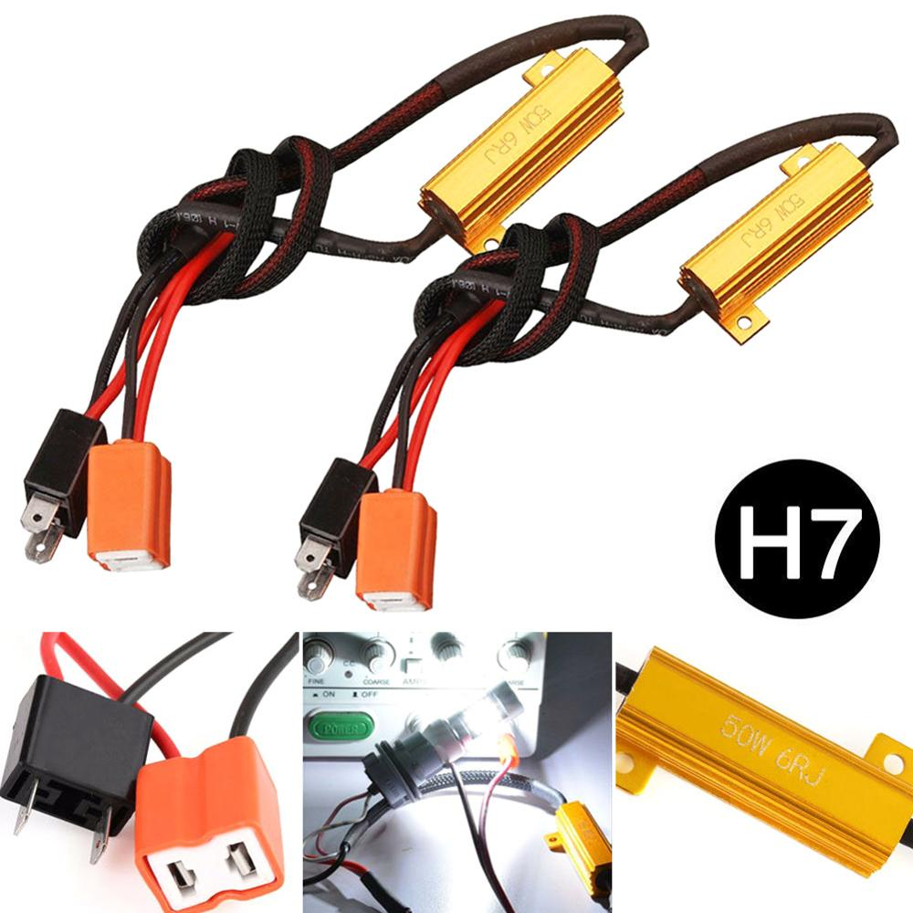 OLOMM 2pcs H7 50W 6Ω LED Warning Light Canceller load resistance decode Car Turn Signal Lights Fix Error Canbus Load Resistor