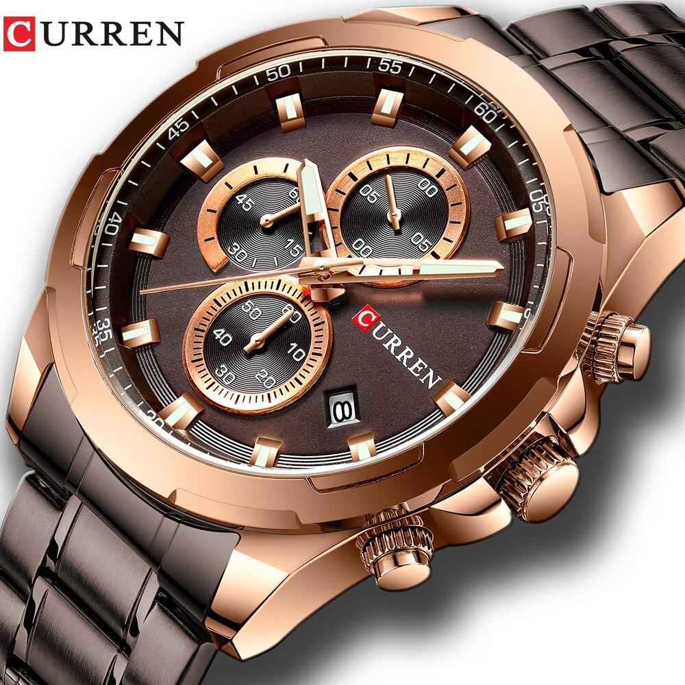 CURREN nuevo para hombre, relojes de moda banda de acero inoxidable Casual cronógrafo reloj de cuarzo de los hombres fecha Deporte Militar reloj masculino 8354