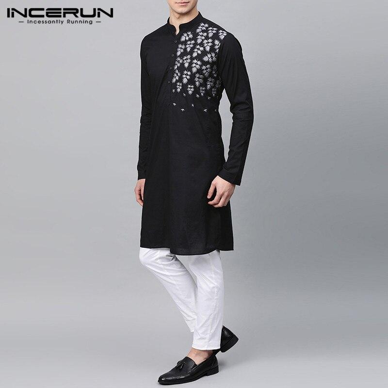 2021 Fashion Men Muslim Kaftan Shirts Casual Long Sleeve V Neck Kurta Dresses Shirt Man Printing Abaya Dubai Camisas Plus Size