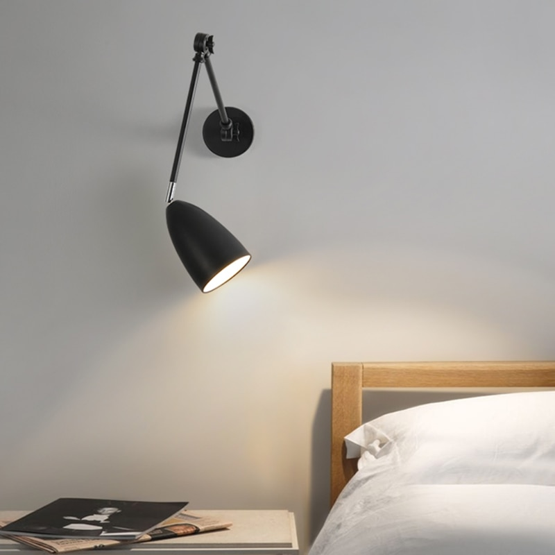 com balancim lampada de parede quarto lampada cabeceira nordic retratil dobravel