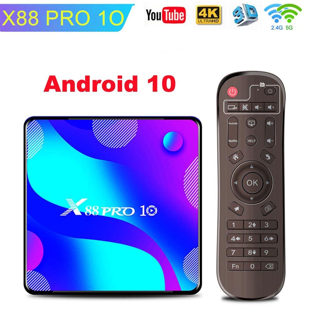 Android 10 smart tv box 4gb ram 64gb 128gb rom rk3318 bt4.0 console 2.4g & 5.8g wi-fi tv receptor youtube 4k conjunto caixa superior