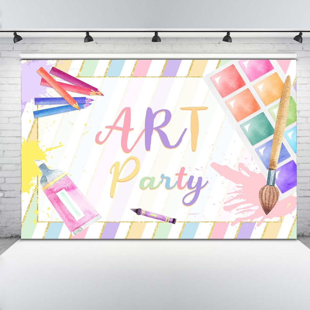 Let's Paint Themed Photography Backdrop Photo Studio Artistic Art Party Banner Background for Students Rainbow Graffiti Stripes enlarge