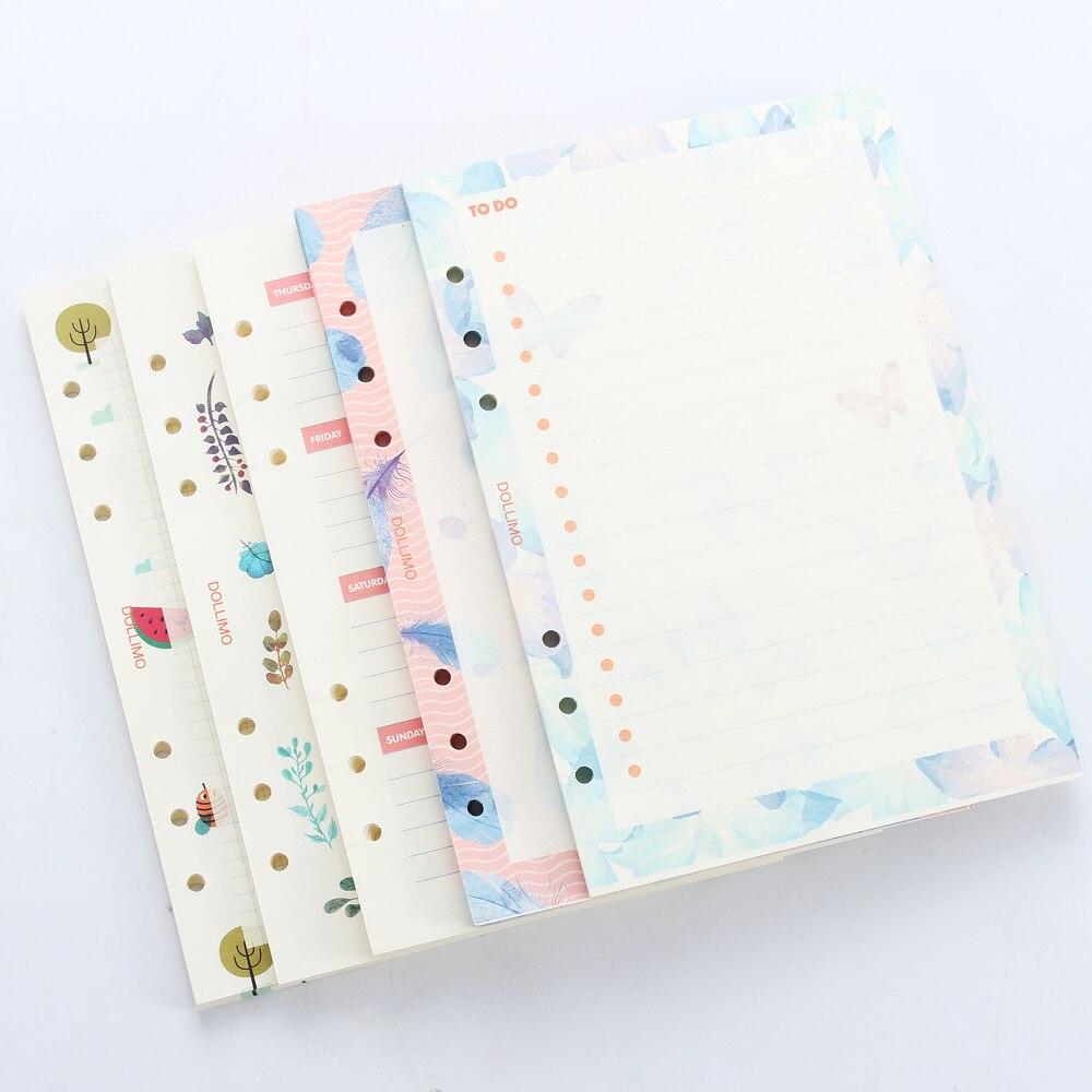Núcleo de papel interno criativo original fofo, para caderno de planejador espiral, desenho animado, 6 furos, recarga de papelaria, papel interno, 5 tipos a5a6