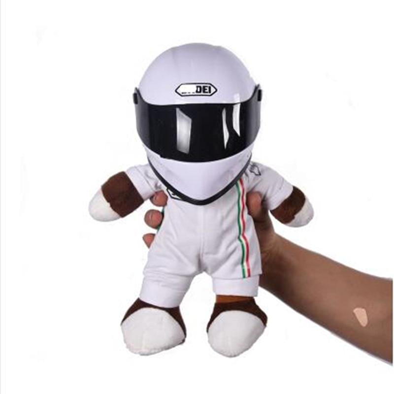 Nuevas muñecas de motocicleta usan cascos oso locomotor juguetes de peluche decoración de carreras de motos regalo Gato casco