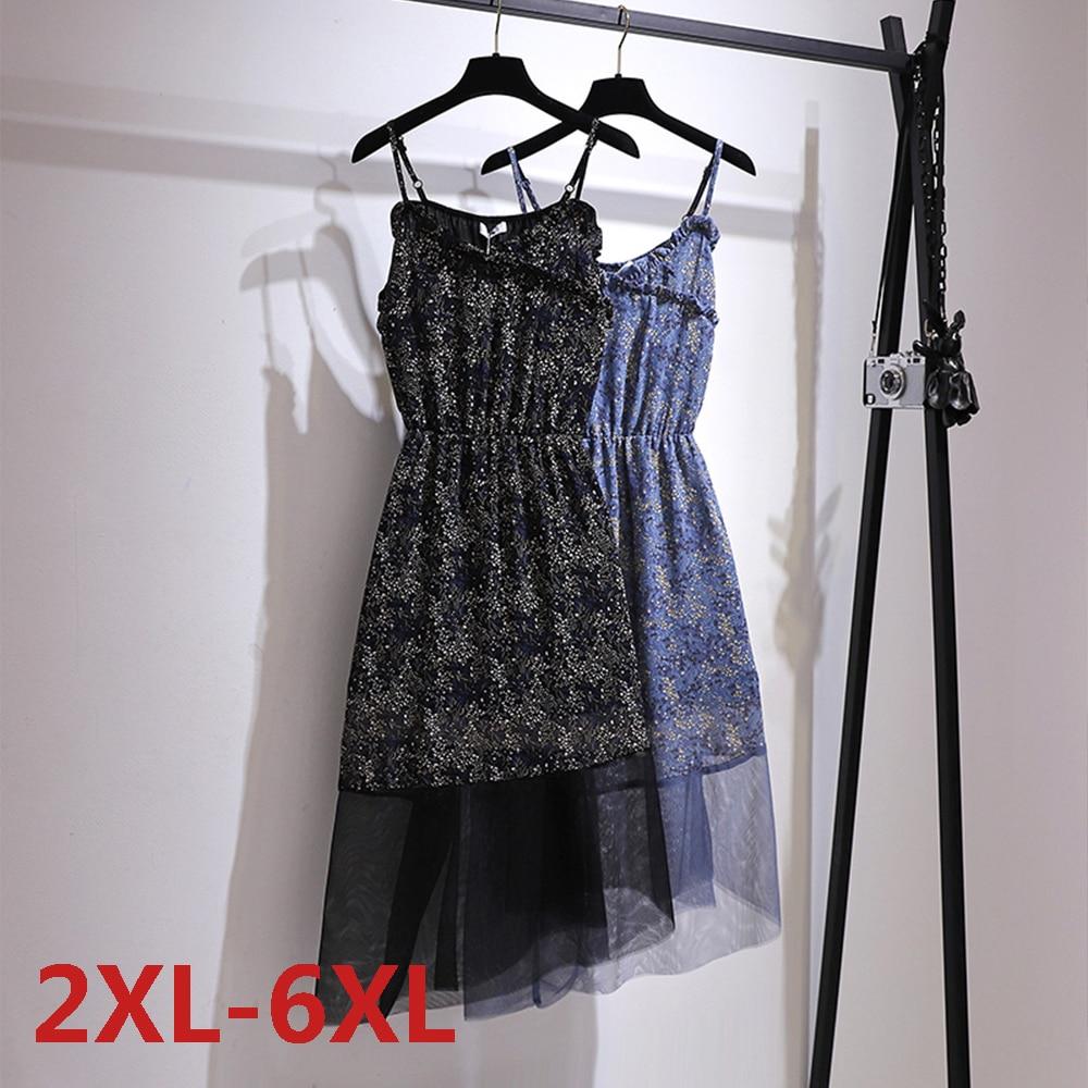 Big Size Dress Women Summer Large Sleeveless Print  Long Plus Fat MM Chiffon Clothing