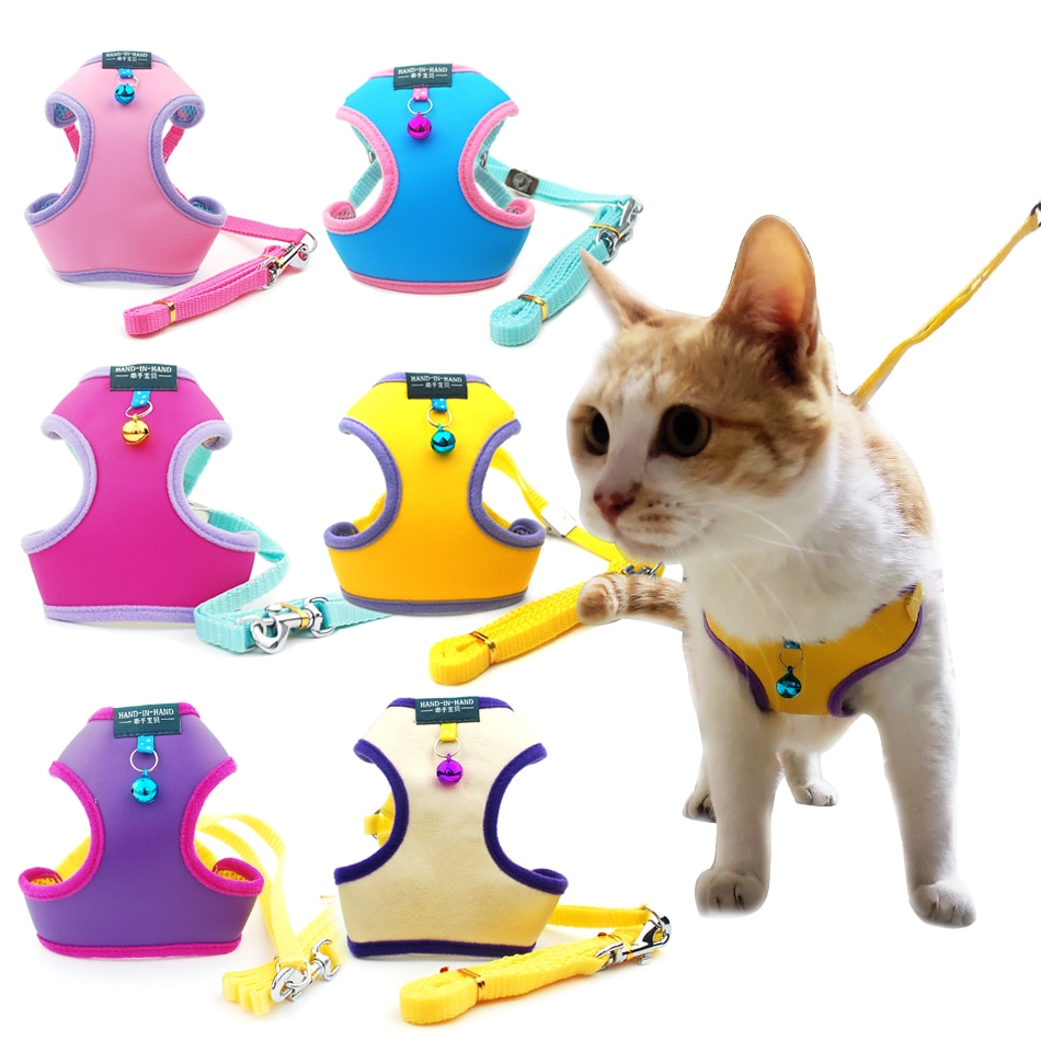 kitten harness pet leash cat harness outdoor walk for small cat puppy chihuahua pet harness leash cat products Pet Cat Harness Vest Leash Pet Adjustable Harness with Bell Walking Leash for Kitten Puppy Small Medium Dog Imitated Leather