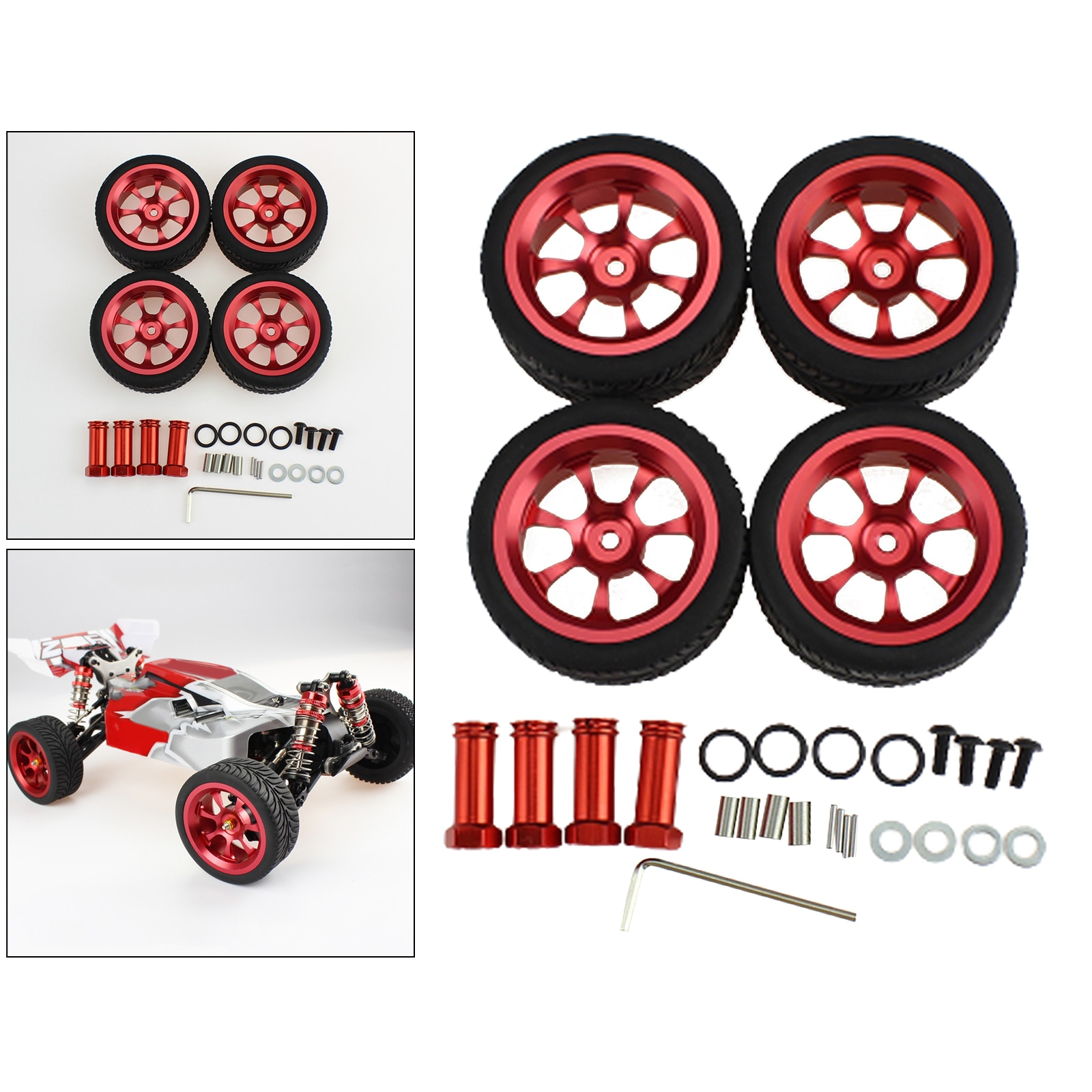 1Set RC Car Wheel Tire RC Car Model Accessories Kids Adults Toys for