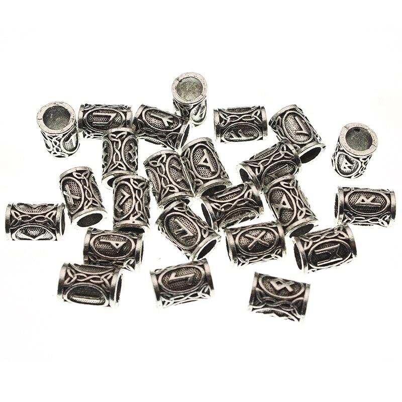 24 шт./компл. Futhark руны викингов, пробки, бисер для изготовления ювелирных изделий, бороды, шарик для волос, подходит для DIY, ожерелье, браслет, ручной работы