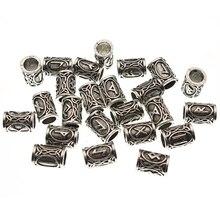 24pcs/Set Futhark Viking Runes Tube Spacer Beads for Jewelry Making Beards Hair Bead fit DIY Necklace Bracelet Handmade Findings