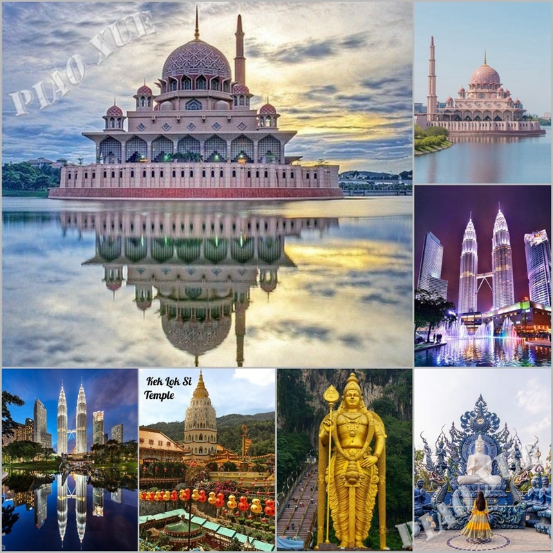 Diy Beautiful Malaysia Diamond Painting Masjid Putra Mosque And Twins Tower Full Square/Round Church Landscape Embroidery Decor