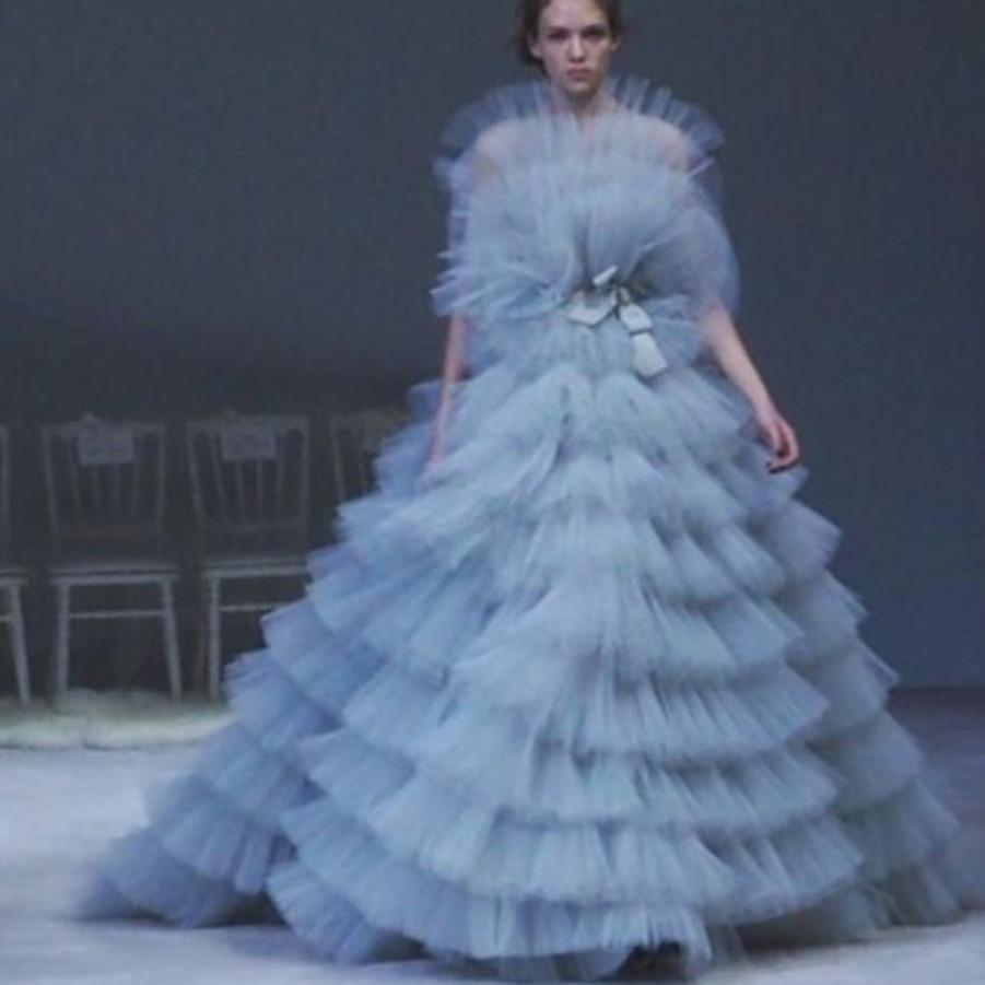 Encantadores vestidos de novia azul hielo con volantes, tutú hinchado, baile, arco...